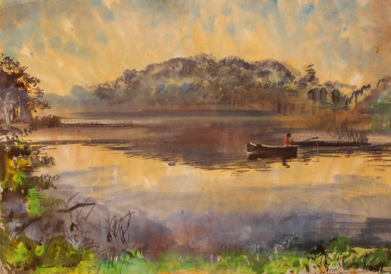 Robert Noel Blair Landscape Painting - Fishing in Solitude