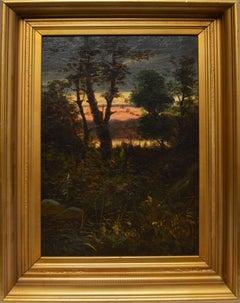 Hudson River School Landscape with a Sunset by John Adams Parker