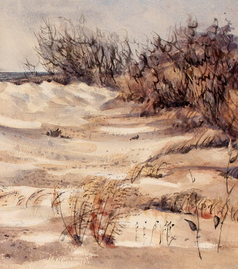 Cold Beach Day in the Dunes - Painting by Jeanette Blair
