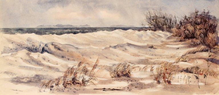 Jeanette Blair Landscape Painting - Cold Beach Day in the Dunes