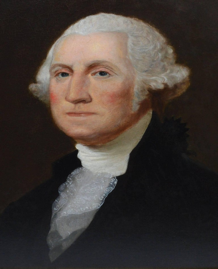 19th Century American school portrait of George Washington.  Oil on canvas, circa 1880.  Unsigned.  Displayed in a giltwood frame.  Image size, 21