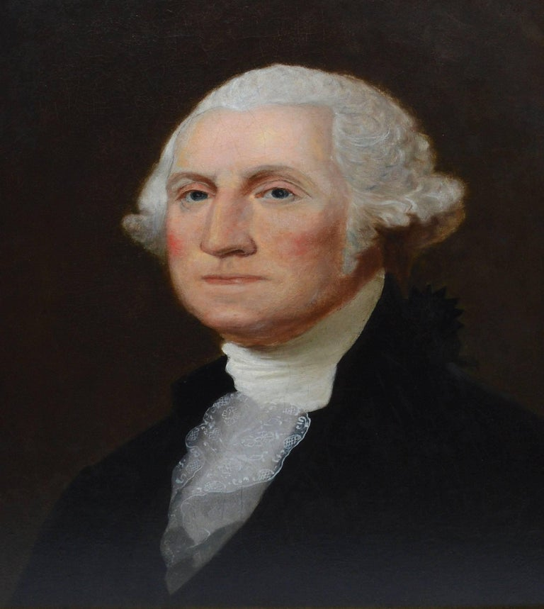 19th Century American School Portrait of George Washington - Brown Portrait Painting by Unknown