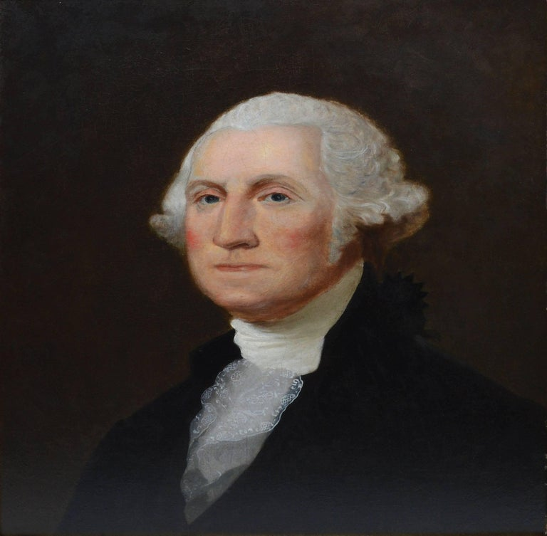 19th Century American School Portrait of George Washington - Realist Painting by Unknown