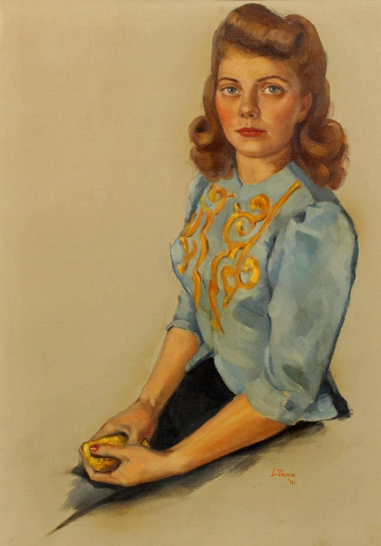 Signed and Dated '41 Portrait of a Young Woman - Painting by Unknown