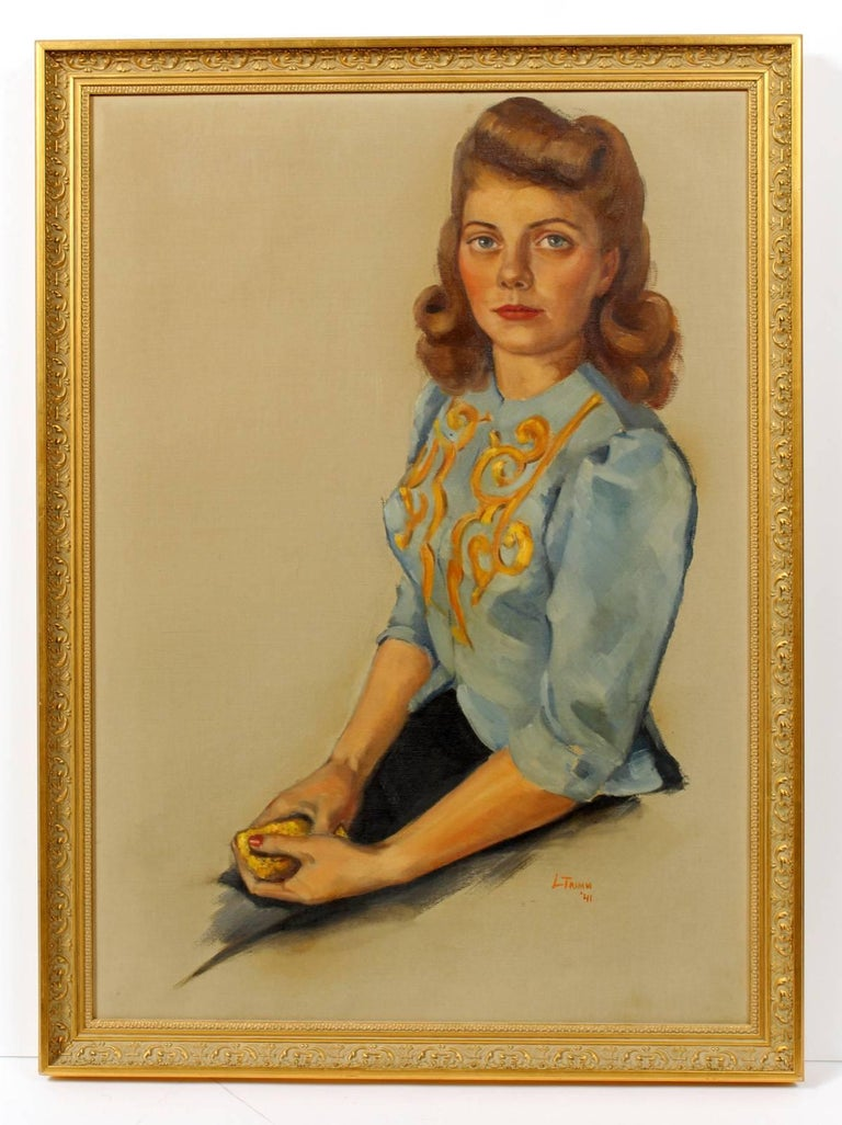 Unknown Portrait Painting - Signed and Dated '41 Portrait of a Young Woman