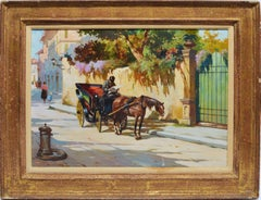 Italian Street view with a Horse Drawn Carriage by Aldo Affortunati