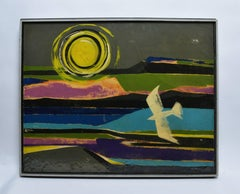 Modernist Abstracted Landscape with Flying Bird