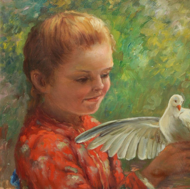 Impressionist portrait of a young girl with a Dove.  Oil on canvas, circa 1920.  Signed illegibly lower right.  Displayed in a giltwood frame.  Image size, 20