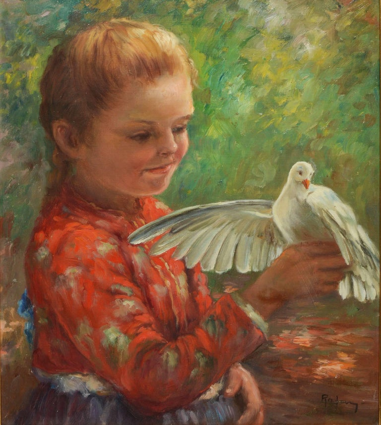 Portrait of a Young Girl with a Dove - Impressionist Painting by Unknown