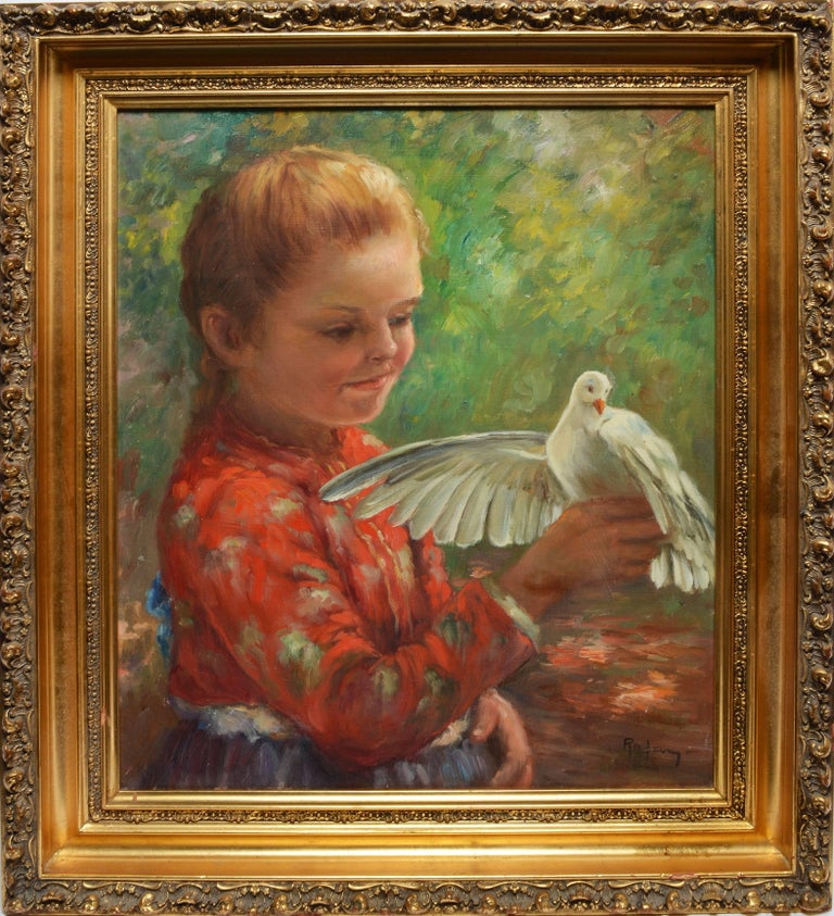 Unknown Portrait Painting - Portrait of a Young Girl with a Dove