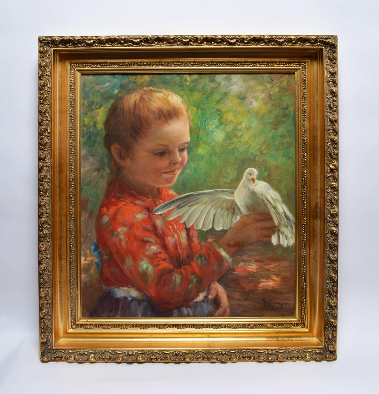 Portrait of a Young Girl with a Dove - Painting by Unknown