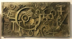Cubist Abstraction, Bas Relief in Wood by Vernon B. Smith