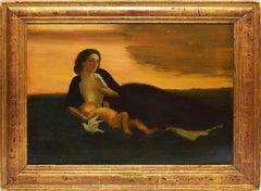 """The Golden Stream"", Sunset Figurative Landscape by Arthur Bowen Davies"