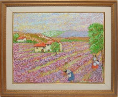 Pointillist French Flower Landscape by Lucia Fortuny