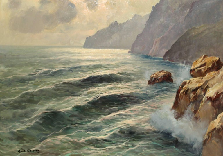Cloudy Day Capri - Painting by Guido Odierna