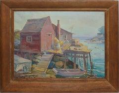 American School Gloucester Harbor Fishing Dock Painting