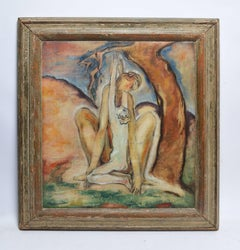 """""""The Embrace"""", American School Modernist Abstract Nude Composition"""