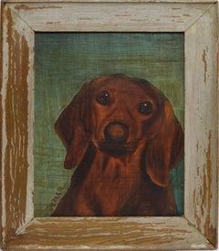 American School Portrait of a Dachshund Dog