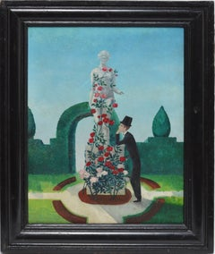 American School Surreal Modernist Garden View with Roses