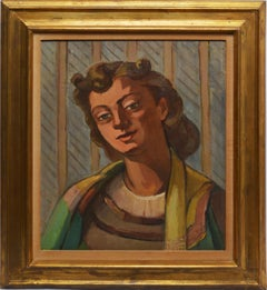American School WPA Modernist Portrait