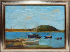 American School, Large Impressionist Lake View with Sailboats