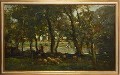 Tonalist Landscape with Sheep by Frank Mura