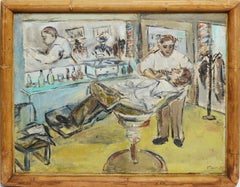 """ A Close Shave"", Ashcan School view of a Barbershop"