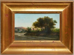 American School Antique Signed Western Desert Landscape Oil Painting