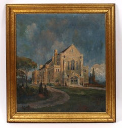Painting of a Spanish Church in Stormy Weather