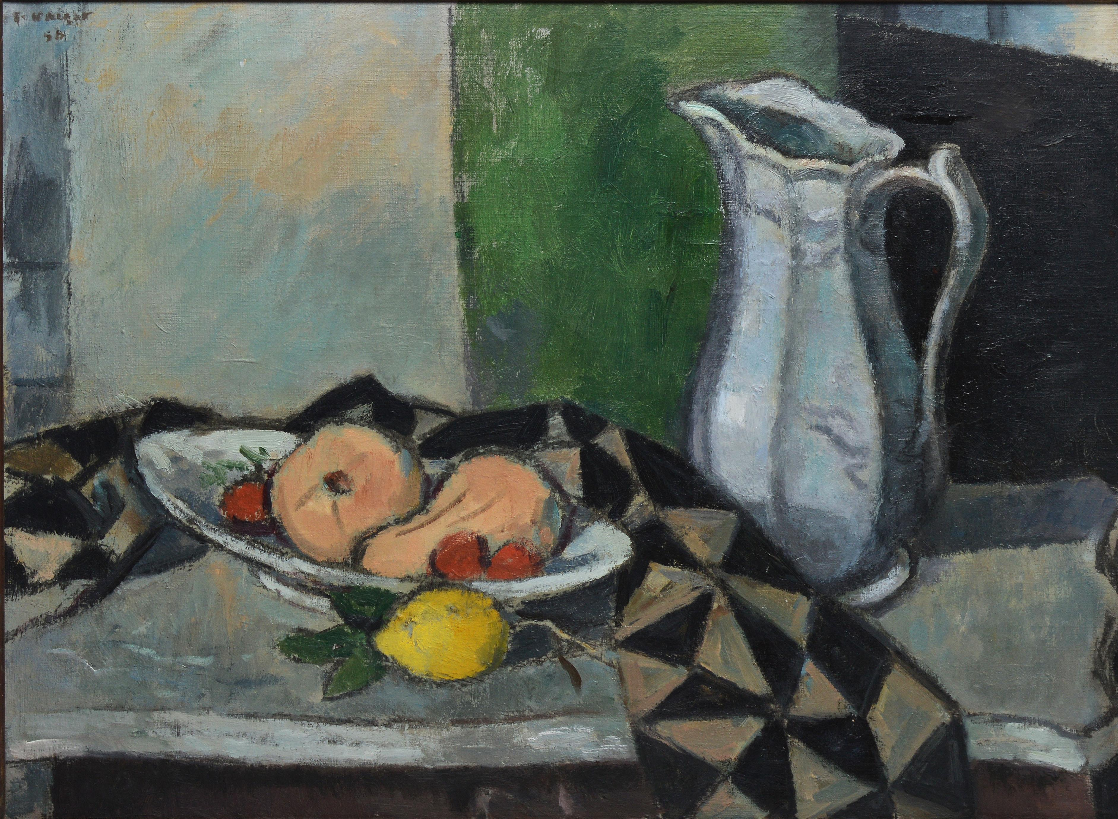 American Modernist Kitchen Still Life   Black Still Life Painting By Unknown