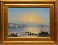 19th Century Luminous Coastal Sunset Landscape Oil Painting