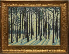 Antique Connecticut Winter Forest Impressionist Landscape by Henry W Tomlinson