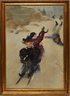 Pushing the Sled, American School Winter Impressionist Oil Painting