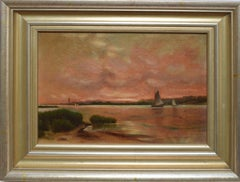 Sunset in the Hamptons, 19th Century American Landscape Oil Painting