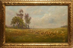 19th Century Impressionist Landscape with Sheep by Edward B Gay
