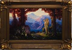 "American School, Art Nouveau Landscape with a Nude Woman, ""The Awakening"""