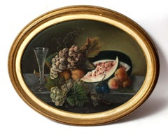 19th Century Circular Realist Pastel Painting Still Life Fruit in Gold Frame