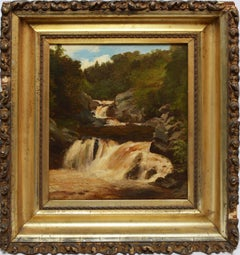 Hudson River School 1850's American Landscape with a Waterfall by William Hart