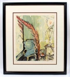 "Sarah Churchill Original Lithograph ""My Father's Chair"" Framed Appraisal and COA"