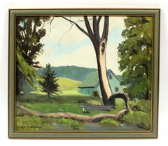 Country Landscape Oil Painting with Goose by American artist Earl Sherm 1940