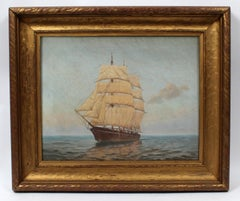 American original 1920's Oil Painting by Elliot Candee Clark Whaling Vessel