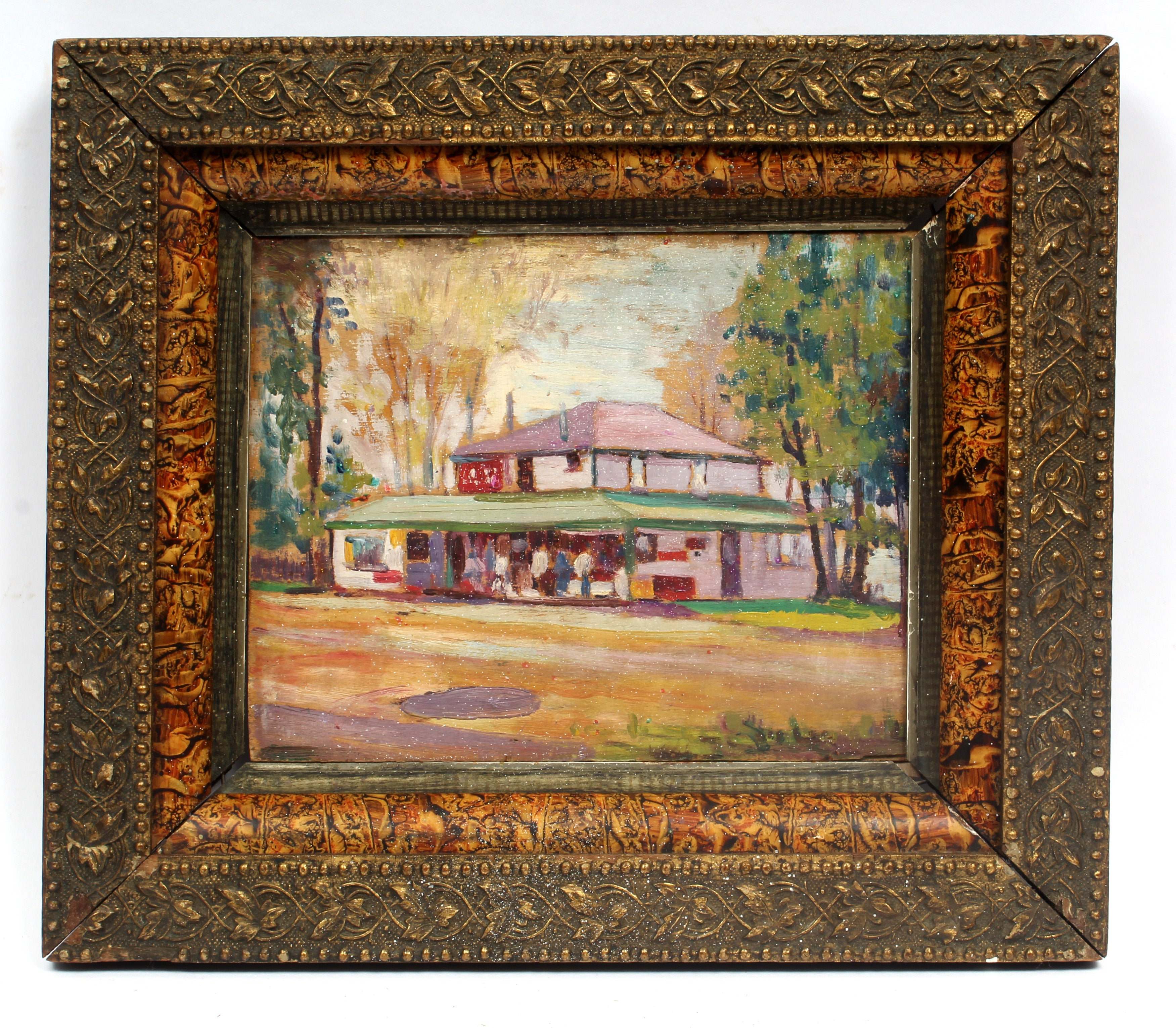 Antique Impressionist Dentzel Carousel Oil Painting Ontario New York American