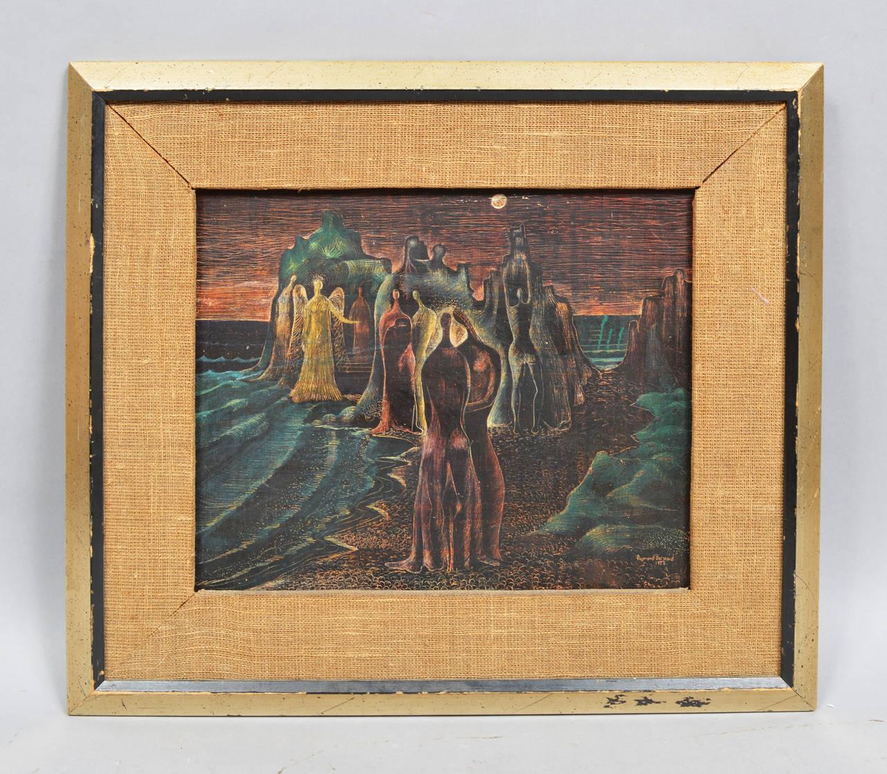 The Beach Gathering - Surrealist Painting by Raymond Brossard