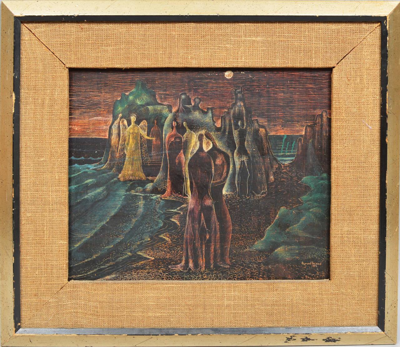 The Beach Gathering - Painting by Raymond Brossard