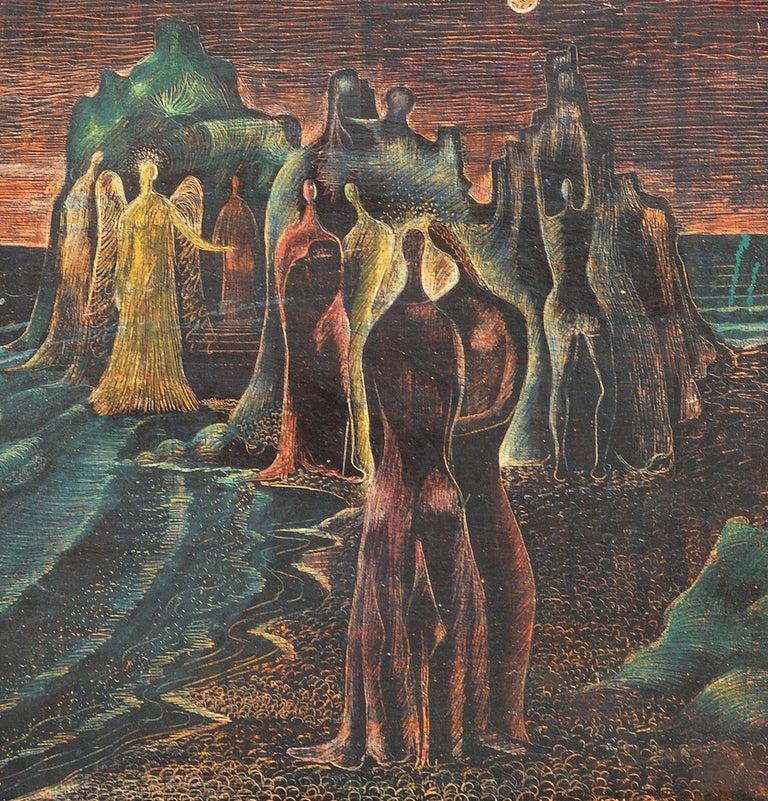 Raymond Brossard Figurative Painting - The Beach Gathering