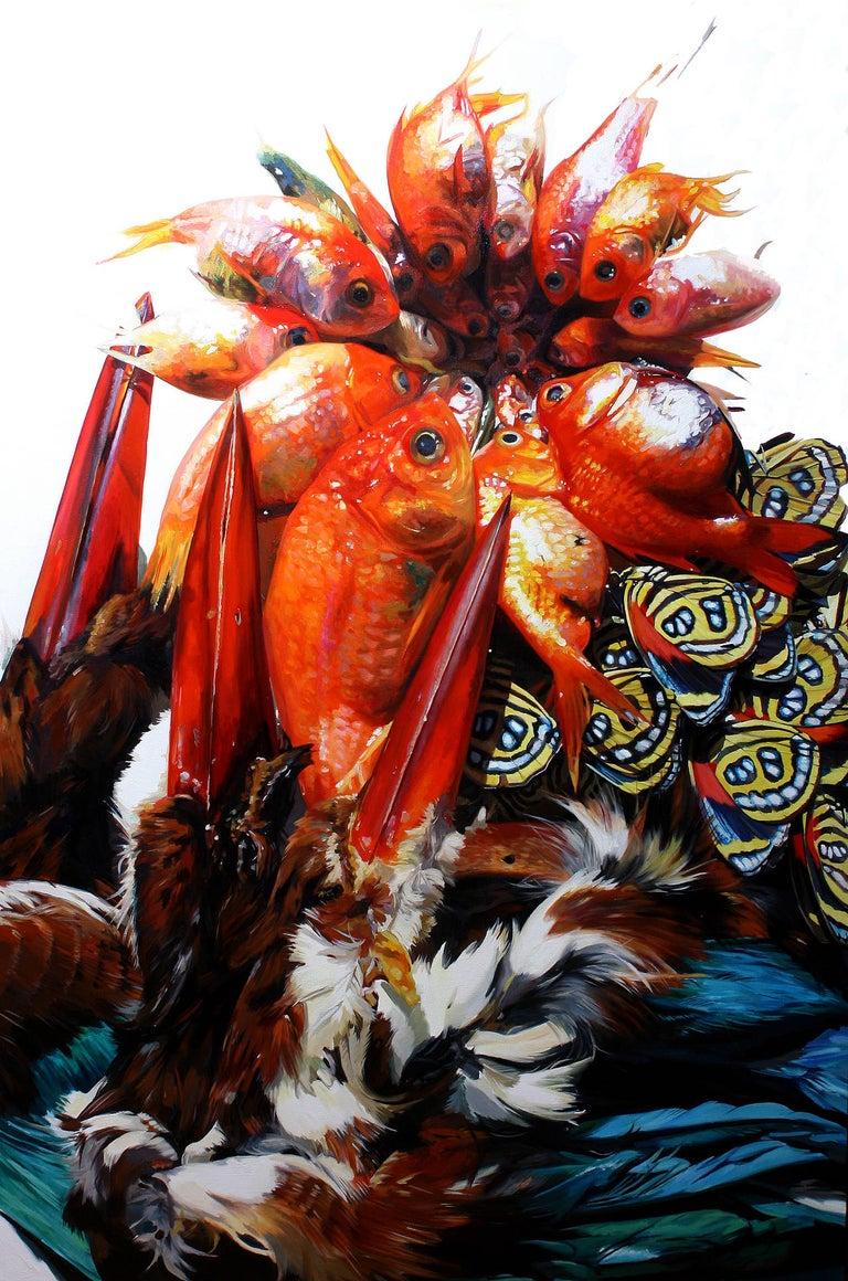 Augustina Droze Still-Life Painting - Arrangement with Goldfish