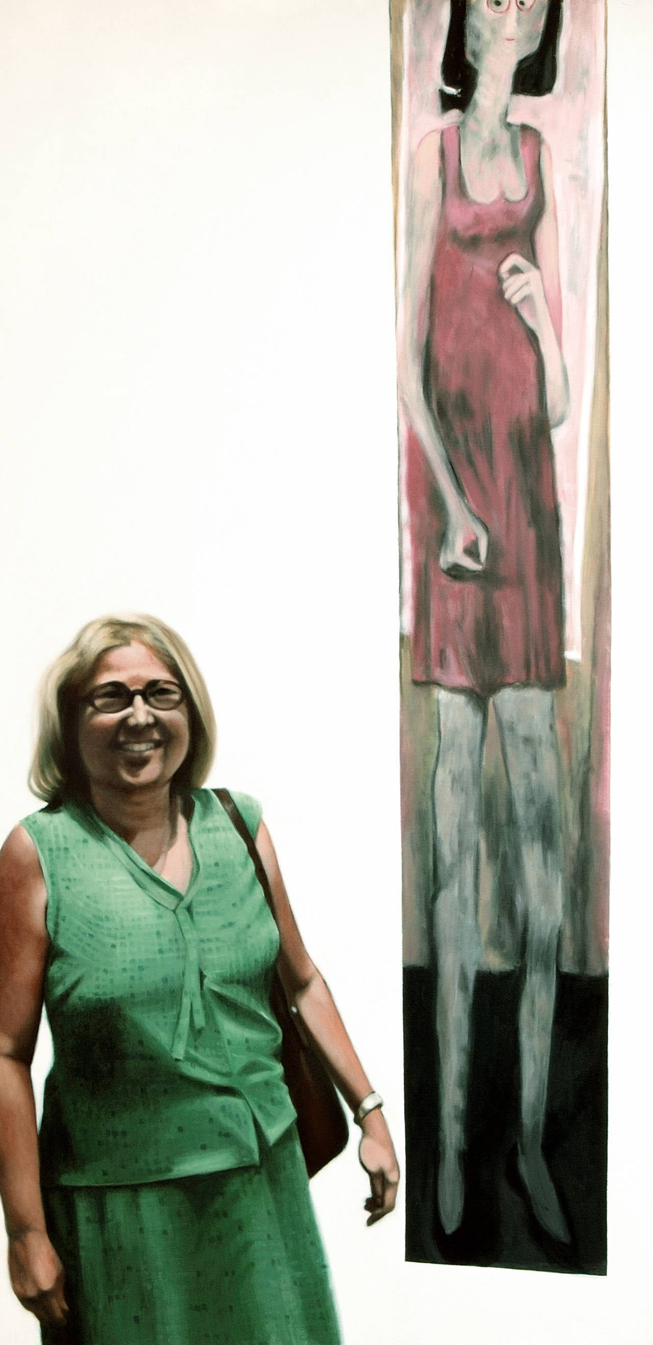 Bruce Adams Figurative Painting - Picture of Haydee with Painting - Museo de Arte Contemporaneo, Puerto Rico