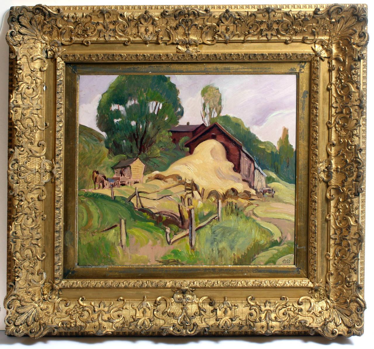 The Haybarn - Painting by Alexander Oscar Levy