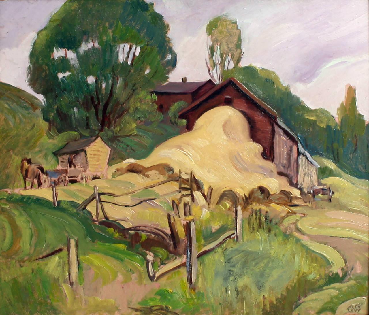 Alexander Oscar Levy Landscape Painting - The Haybarn