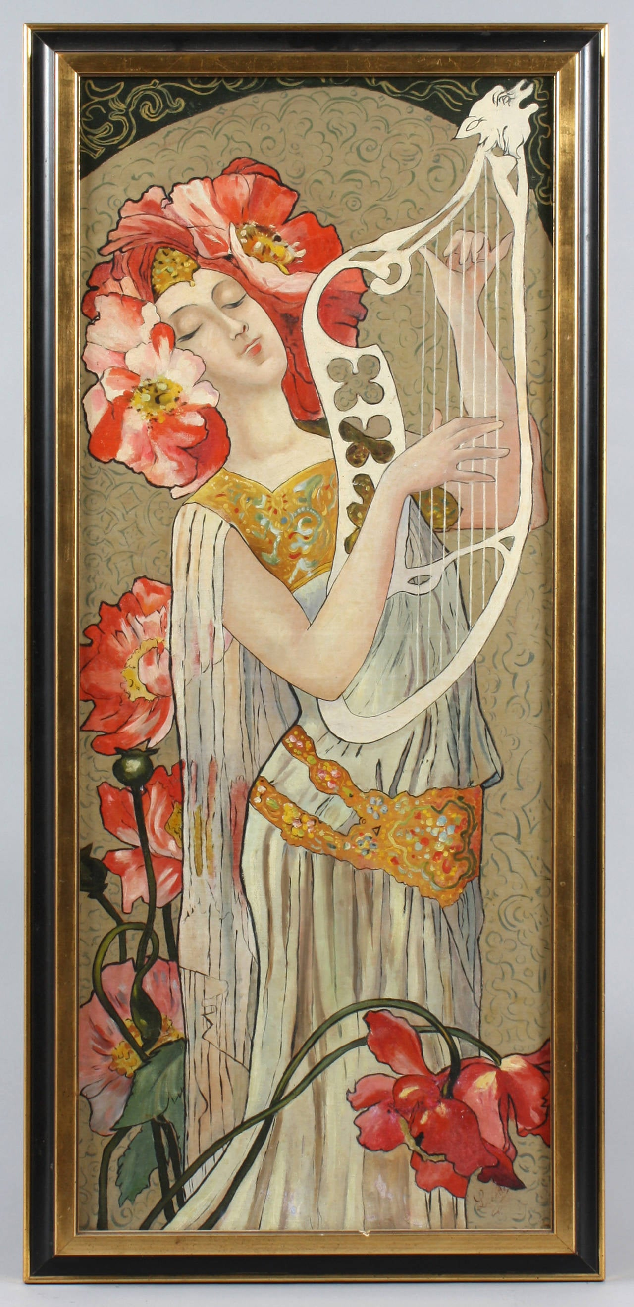 Unknown Figurative Painting - Art Nouveau Portrait of a Woman with Poppies in her Hair